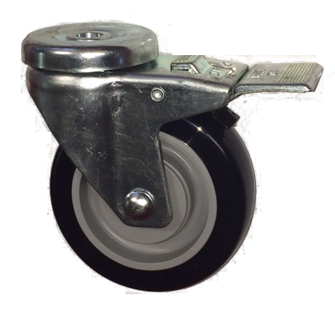 "Caster; Swivel; 3"" x 1-1/4""; PolyU on PolyO (Gray); Hollow Kingpin (1/2"" bolt hole); Zinc; Precision Ball Brng; 250#; Thread Guards; Dust Cover); Total Lock (64336)"