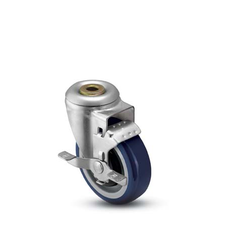Swivel Caster with a Polyurethane on PolyO wheel, Zinc finish, Hollow Kingpin connector and a Brake.
