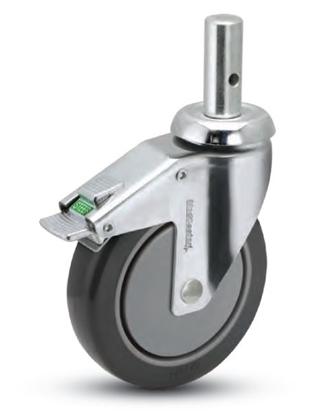 "Caster; Swivel; 6"" x 1-1/4""; PolyU on PolyO (Gray); Round Stem (25.4 x 45mm; 8mm x 20mm up); Chrome; Precision Ball Brng; 260#; Chrome Thread guards; Total Lock (64431)"