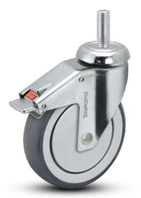 Swivel Caster with a soft, gray, Polyurethane on PolyO wheel, Stainless Chrome finish, Threaded Stem