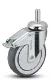 Caster; Swivel; 4x1-1/4; PolyU on PolyO (Gr/Bg); Threaded Stem (1/2-13TPI x 1-1/2); Stainless Rig; Stainless Precision Bearing; 190#; Swivel Lock; Thread guards (66777)