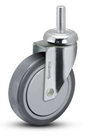 "Caster; Swivel; 4"" x 1-1/4""; PolyU on PolyO (Gray); Threaded Stem (1/2-13TPI x 1-1/2); Stainless; Stainless Ball Brng; 300#; Thread guards (66505)"