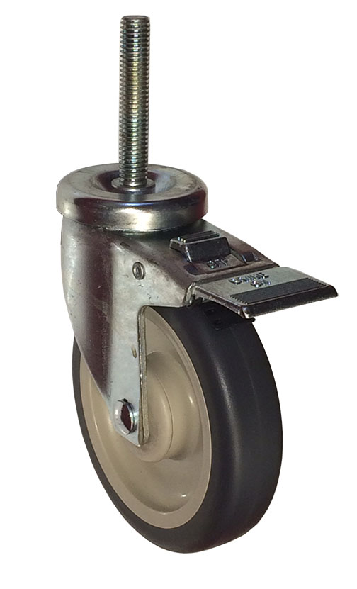 Swivel Caster with a Gray Polyurethane on PolyO wheel, Zinc finish, Threaded Stem connector and a To