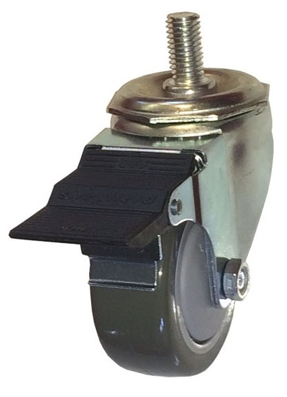 Swivel Caster with a gray Polyurethane on PolyO wheel, Zinc finish, Threaded Stem connector and peda