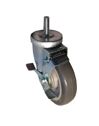 Swivel Caster with a gray Polyurethane on PolyO wheel, Zinc finish, Threaded Stem connector, metal d