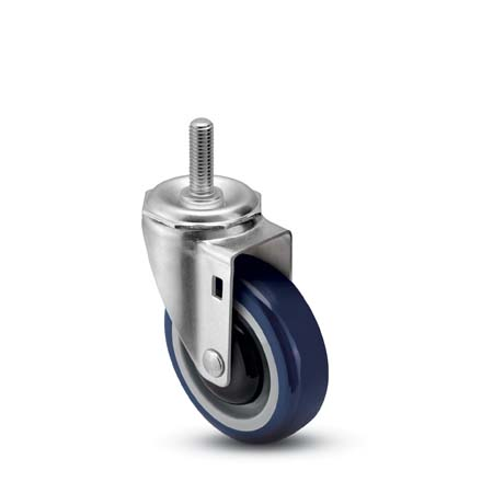 "Caster; Swivel; 5"" x 1-1/4""; PolyU on PolyO (Blue); Threaded Stem (1/2""-13TPI x 1-1/2""); Zinc; Precision Ball Brng; 315#; Bearing Cover; Dust Cover (Mtl) (64740)"