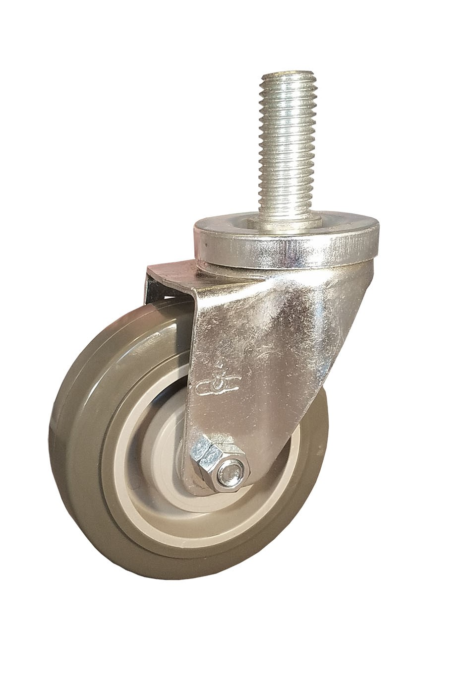 Swivel Caster with a gray Polyurethane on PolyO wheel, Zinc finish, and Threaded Stem connector.