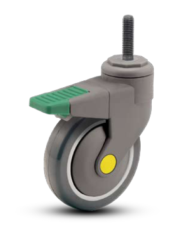 "Caster; Swivel; 4"" x 1-1/4""; Conductive PolyU; Threaded Stem (1/2""-13TPI x 3/4""); Plastic Rig; Prec Ball Brng; 220#; ESD; Thread guards; Total Pedal Brake (66400)"