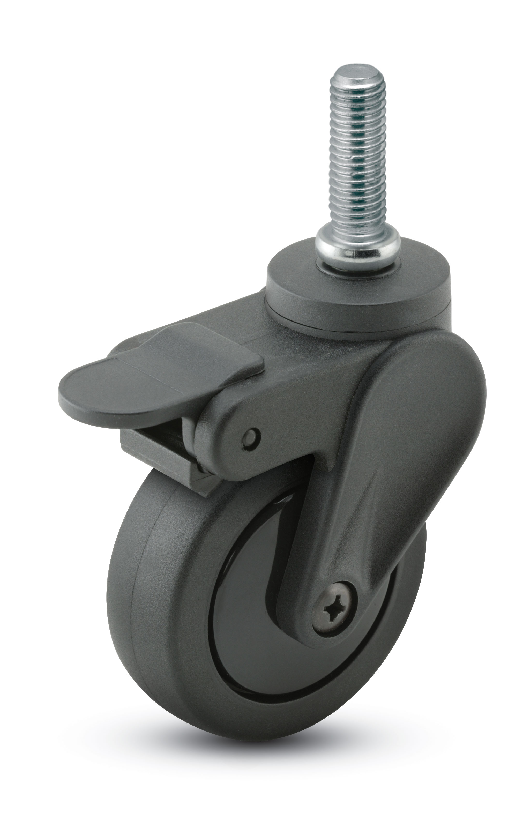"Caster; Swivel; 4"" x 15/16""; PolyU on PolyO (Bk/Bk); Threaded Stem (3/8""-16TPI x 3/4""); Black GFN; Delrin  Bushing; 125#; Pedal Brake (65515)"