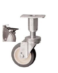 Caster; Swivel; 5x1-1/4; PolyU on PolyO (Gr/Bg); Plate (2-3/8x3-5/8; holes: 1-3/4x2-7/8 slotted to 3; 5/16 bolt); 250#; 2in Leveling Leg (5/8 adjust); pedal brk (66946)