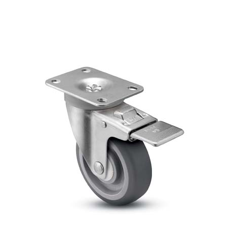 Swivel Caster with a gray, Polyurethane on PolyO wheel, Zinc finish, Top Plate connector and a Total