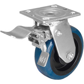 Swivel Caster with a blue PolyUrethane wheel, Zinc finish, Top Plate connector and a Total Lock Brak