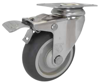 Caster; Swivel; 3 x 1-1/4; PolyU on PolyO (Gray); Plate (2-3/8x3-5/8; holes: 1-3/4x2-7/8 slotted to 3; 5/16 bolt); Stainless; Delrin Spanner; 250#; Total Lock (66561)