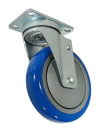 "Caster; Swivel; 3"" x 1-1/4""; PolyU on PolyO (Blue); Plate; 2-1/2x3-5/8; holes: 1-3/4x2-7/8 (slotted to 3); 5/16 bolt; Zinc; Ball Brng; 250#; Thrd Grds (67986)"