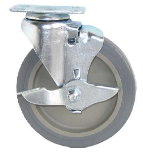 "Caster; Swivel; 4"" x 1""; PolyU on PolyO (Gray); Plate (1-3/4"" x 3""; holes: 1"" x 2-3/16""; slotted to 2-5/16""; 5/16"" bolt); Zinc; Plain bore; 175#; Tread brake (66247)"