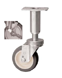 Caster; Swivel; 5x1-1/4; PolyU on PolyO (Gr/Bg); Plate (3-1/2x3-1/2: holes: 2-5/8x2-5/8; 5/16 bolt); 250#; Leveling Leg (3-5/8; 1-1/2 adjust); Brake (66949)