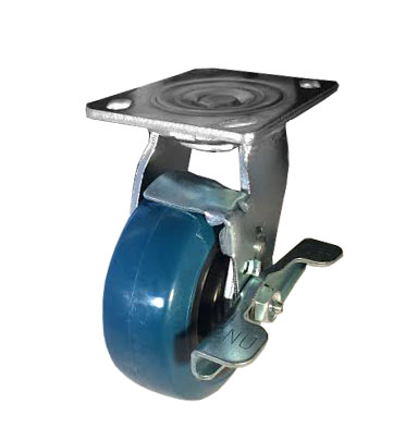 "Caster; Swivel; 4"" x 2""; PolyU on PolyO (Blue); Plate (4""x4-1/2""; holes: 2-5/8""x3-5/8"" slots to 3""x3""; 3/8"" bolt); Zinc; Delrin Spanner; 500#; Tread brake (64249)"