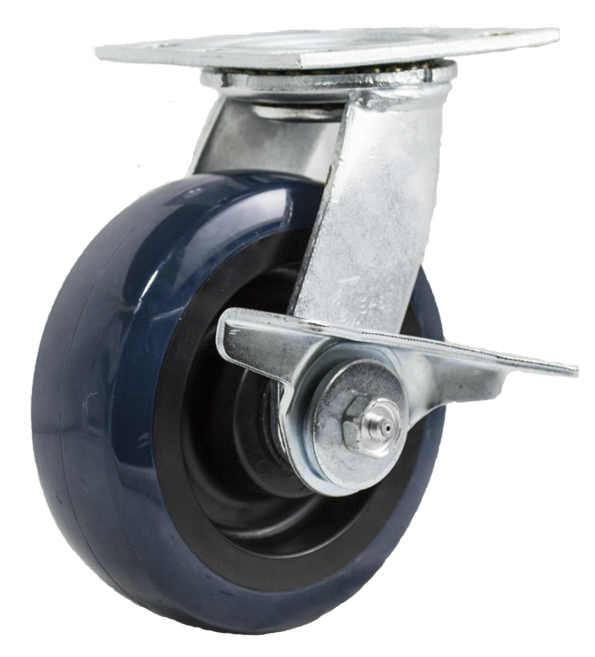 "Caster; Swivel; 6"" x 2""; PolyU on PolyO (Blue); Plate; 4""x4-1/2""; holes: 2-5/8x3-5/8 (slotted to 3x3); 3/8 bolt; Zinc; Roller Brng; 700#; Cam Style Wheel Brake (65224)"