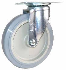 Caster; Swivel; 3 x 1; PolyU on PolyO (Gr/Bg); Top Plate; 2-3/4x3-3/4; holes: 1-3/4x2-7/8 (slotted to 3); 5/16 bolt; Zinc; Plain bore; 175# (69739)