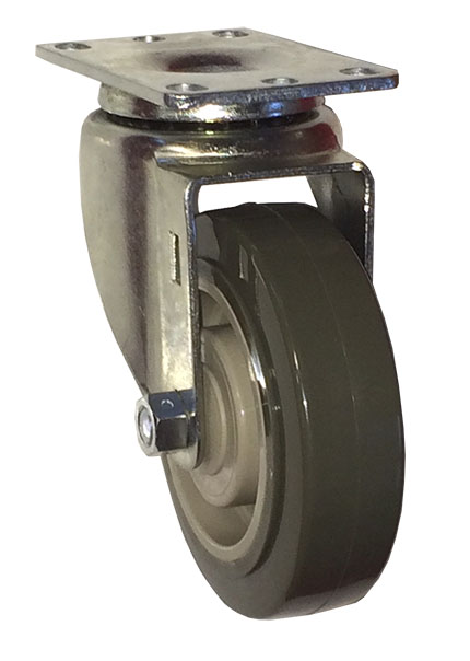 Swivel Caster with a gray Polyurethane on PolyO wheel, Zinc finish, and Top Plate connector.