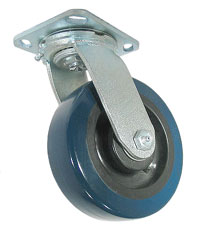 Swivel Caster with a Blue PolyU on PolyO wheel and top plate connector.