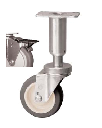 "5"" x 1-1/4"" Swivel Caster with a PolyU on PolyO (Gr/Bg) wheel, Top Plate connector, and Nylon Brng (#66941)"