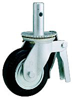 "Scaffold Caster; Swivel; 8"" x 2""; Rubber on Cast Iron; Round Stem (1-3/8""x4""; 1/2"" cross-drilled hole 2-1/2"" up); Zinc; Roller Brng; 500#; Total Lock (66483)"