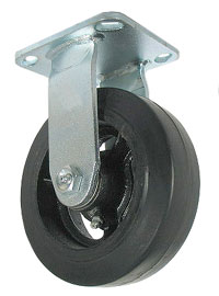 Rigid Caster with Rubber on Cast Iron wheel.