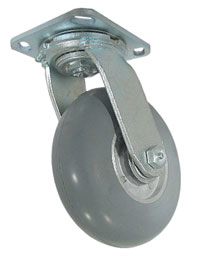 Swivel Caster with a Balloon Rubber on Alum wheel, Zinc finish, and Top Plate connector.