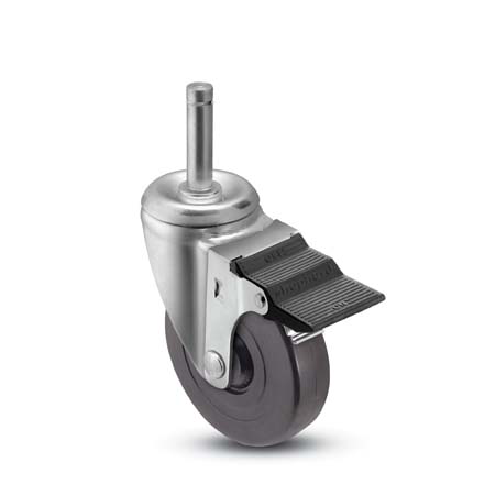 Swivel caster with a black rubber wheel, grip ring stem and pedal brake
