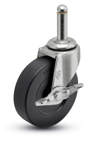 Swivel Caster with a black Rubber wheel, Zinc finish, Grip Ring connector and a Brake.