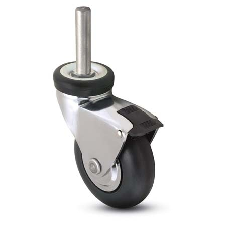 Swivel Caster with a black Rubber wheel, Chrome finish, Threaded Stem connector and a pedal brake.