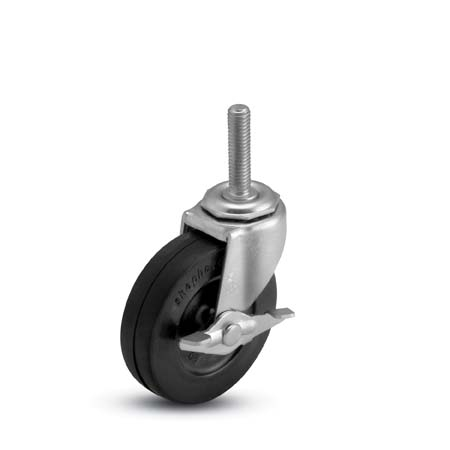 Swivel Caster with a black wheel, Zinc finish, Threaded Stem connector and a Brake.