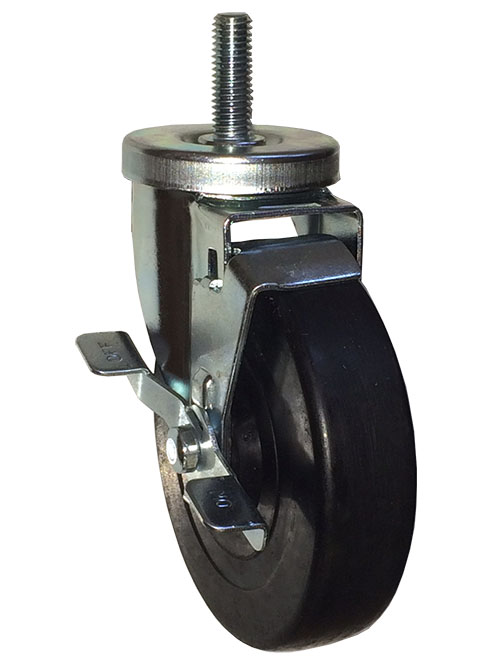 Swivel Caster with a Black Rubber wheel, Zinc finish, Threaded Stem connector and a Brake.