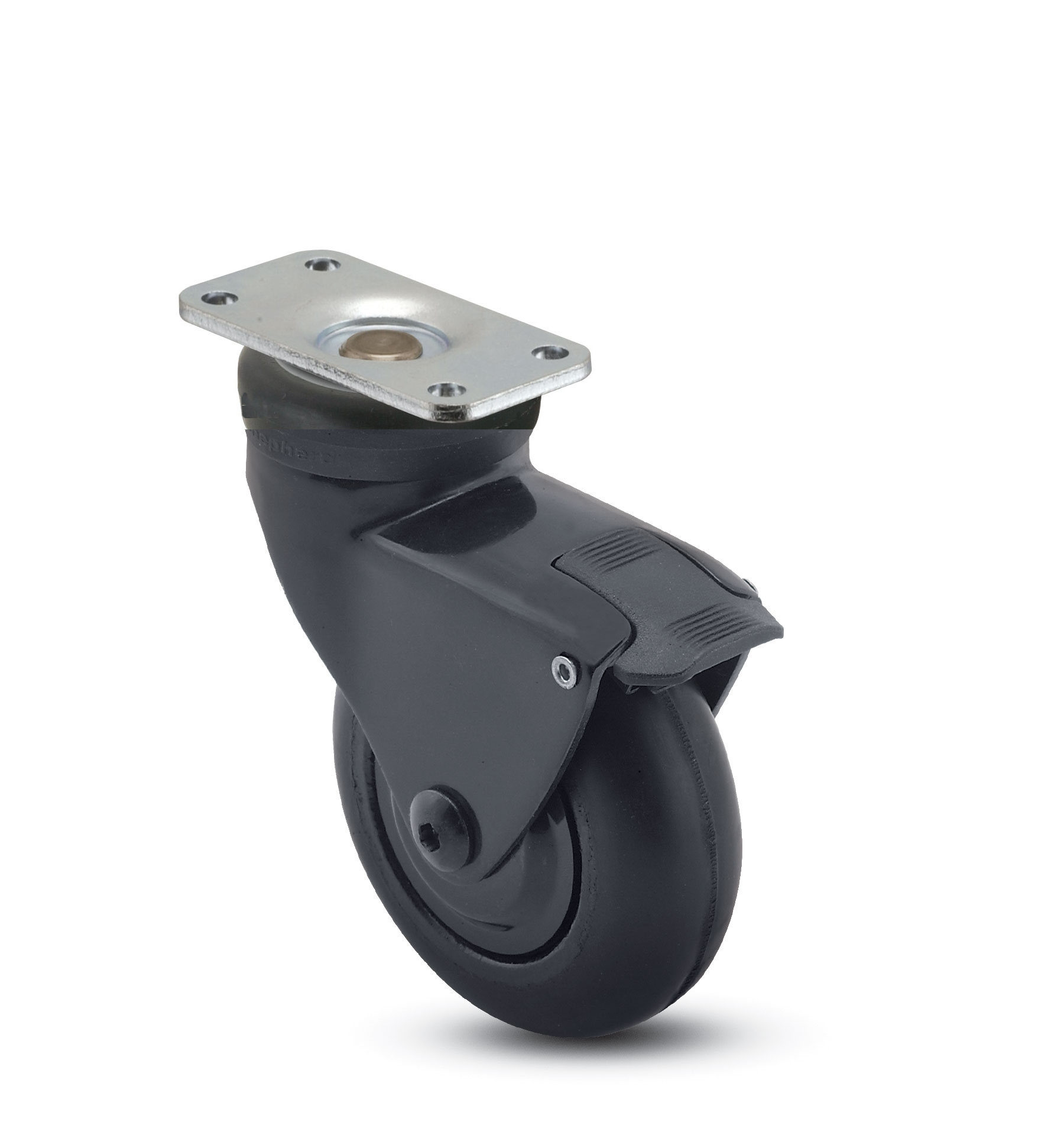 "Caster; Swivel; 3"" x 15/16""; Rubber (Soft; non-marking); Plate (1-1/4"" x 2-3/8""; holes: 13/16"" x 1-1/4""; 3/16"" bolt); Black; Prec Ball Brng; 110#; Pedal Brake (65650)"