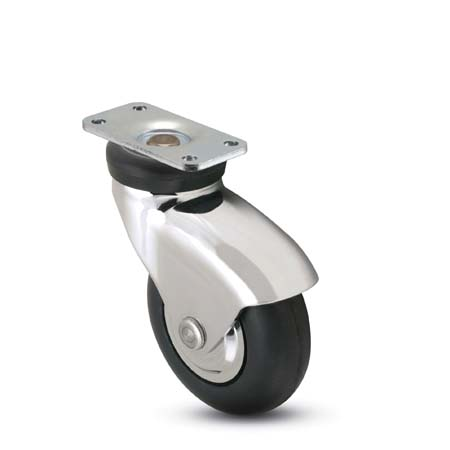 Swivel Caster with a Rubber, Non-marking wheel, Chrome finish, and Top Plate connector.