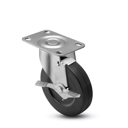 "Caster; Swivel; 3"" x 1-1/4""; Phenolic; Plate; 2-3/8""x3-5/8"": holes: 1-3/4""x2-7/8"" (slotted to 3""); 3/8"" bolt; Zinc; Spanner; 300#; Dust Cover (Mtl); Tread Brake (64624)"