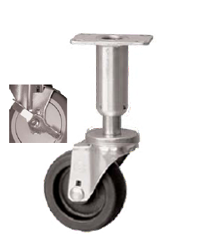 Caster; Swivel; 3x1-1/4; Polyolefin; Plate (2-3/8x3-5/8; holes: 1-3/4x2-7/8 slotted to 3; 5/16 bolt); 300#; Leveling Leg (3-5/8 leg; 1-1/2 adjust); Tread Brake (66973)