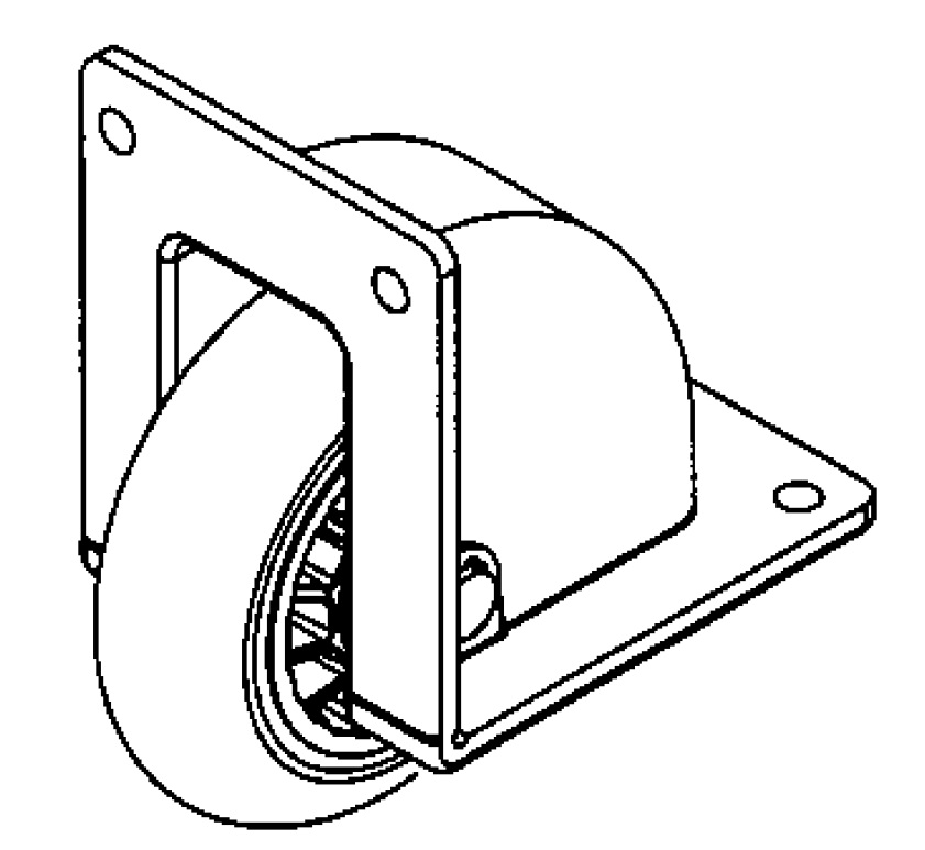 Caster; Rigid; 2-1/2x13/16; Rubber (Hard); Corner Bracket (2-1/8x2-9/16; 3/16 bolt); Black Plastic Housing; Plain Bore; 35# (Call for availability.) (67292)