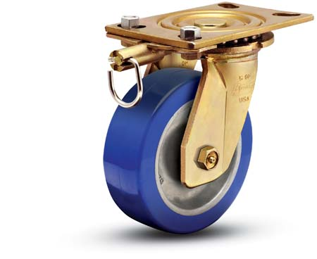 Swivel caster with blue polyurethane wheel, connecting plate and position lock.