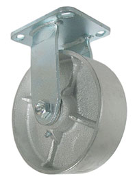 "Caster; Rigid; 4"" x 1-1/2""; Cast Iron; Top Plate (4""x4-1/2""; holes: 2-5/8""x3-5/8"" slotted to 3""x3""; 3/8"" bolt); Zinc; Roller Brng; 600# (65998)"