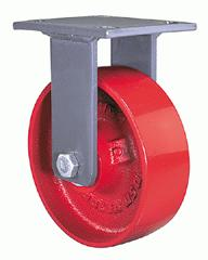 Rigid Caster with a red Steel wheel, Zinc finish, and Top Plate connector.
