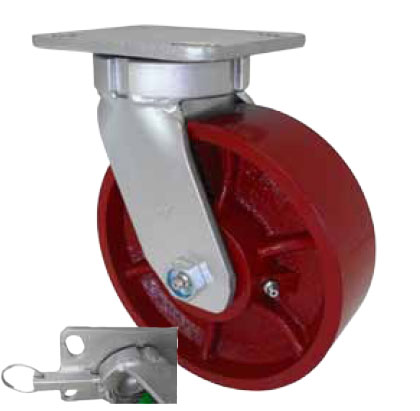 "Caster; Swivel; 12"" x 3""; Steel (Ductile); Plate (5-1/4""x7-1/4""; holes: 3-3/8""x5-1/4"" slots to 4-1/8""x6-1/8""); Roller Brng; 6000#; Kingpinless; 4 Position Lock (64565)"