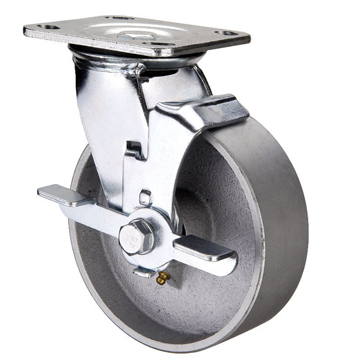 Swivel Caster with a Cast Iron wheel, Zinc finish, and Top Plate connector and a Brake.