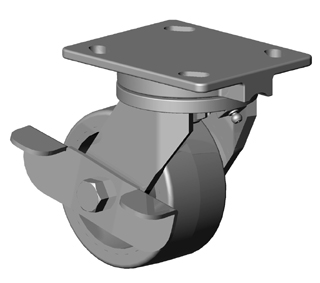 Swivel Caster with a Cast Iron wheel, Zinc finish, Top Plate connector and a Brake.