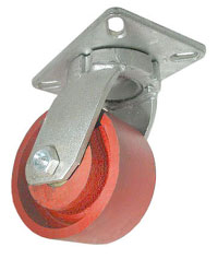 Caster; Swivel; 8x2-1/2; Steel (Ductile); Plate (5-1/4x7-1/4; holes: 3-3/8x5-1/4 slotted to 4-1/8x6-1/8; 1/2 bolt); Zinc; Roller Brng; 3750#; 4-Position Lock (66912)