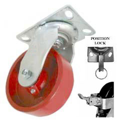 Swivel Caster with a Metal/ Steel wheel, Zinc finish, Top Plate connector, face contact wheel brake
