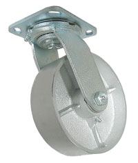 Caster; Swivel; 6x1-1/2; Cast Iron; Top Plate (4x4-1/2; holes: 2-5/8x3-5/8 slotted to 3x3; 3/8 bolt); Zinc; Roller Brng; 700# (66879)