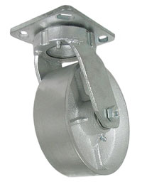 Caster; Swivel; 6x2; Cast Iron; Top Plate (4-1/2x6-1/4; holes: 2-7/16x4-15/16 slotted to 3-3/8x5-1/4; 1/2 bolt); Zinc; Roller Brng; 1400#; Kingpinless (67351)
