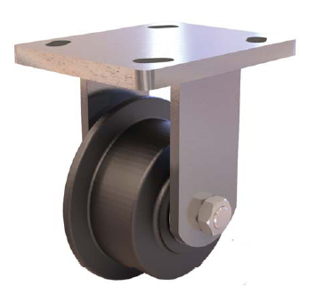 "Caster; Rigid; 5"" x 2-1/16"" (6""x2-11/16""); Singled Flanged Ductile Steel; Plate (6""x7- Plate (6""x7-1/2""; holes: 4-1/2""x6""; 1/2"" bolt); Zinc; Roller Brng; 6000# (65652)"